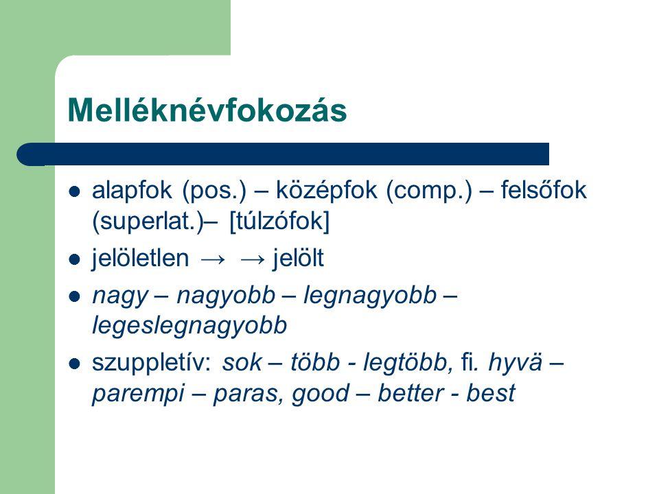 Melléknévfokozás alapfok (pos.) – középfok (comp.) – felsőfok (superlat.)– [túlzófok] jelöletlen → → jelölt.